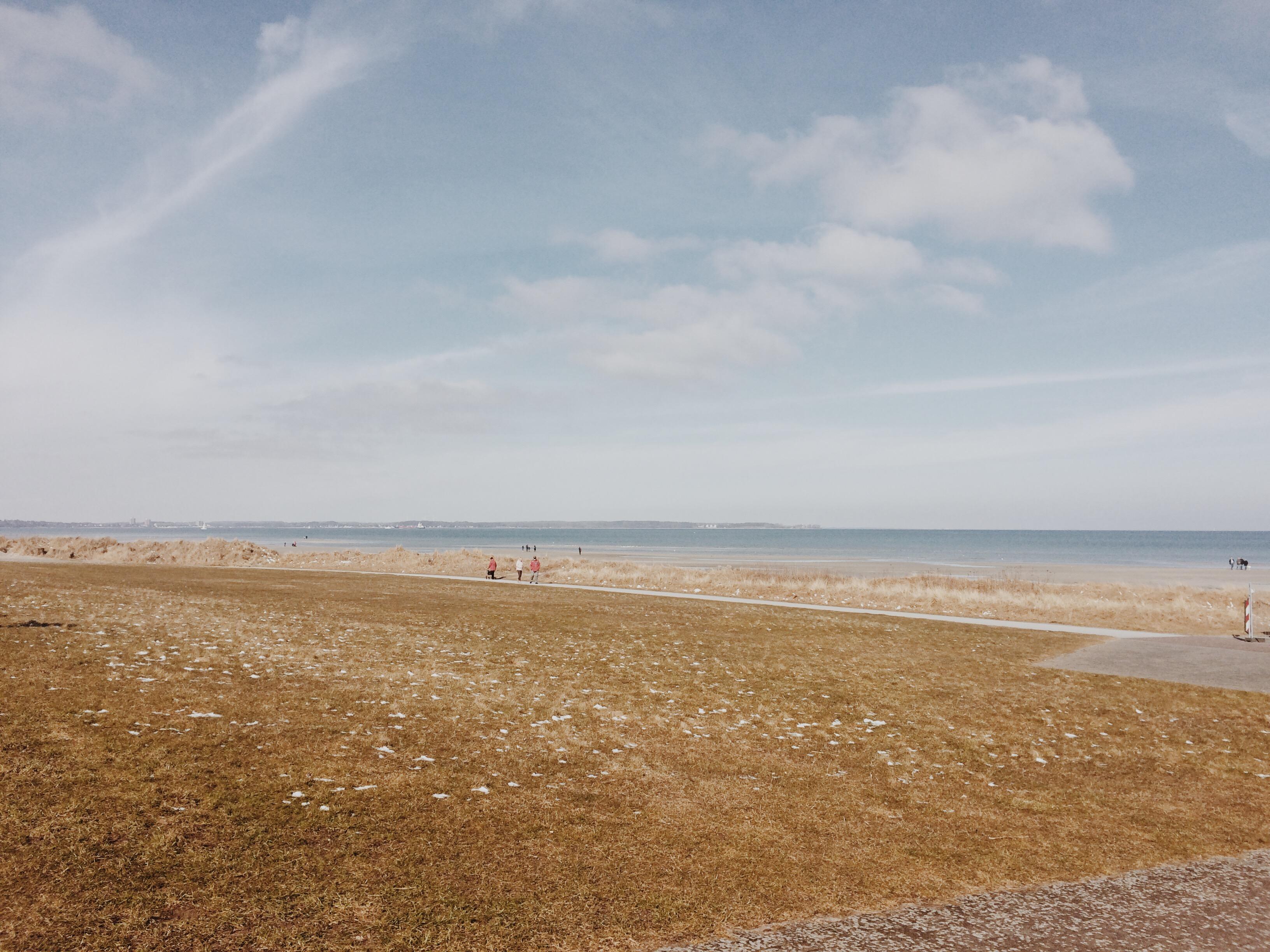 Landschaftsbild vom Strand in Stein mit Dünen, Stand und Ostsee im Hintergrund und blauen Himmel